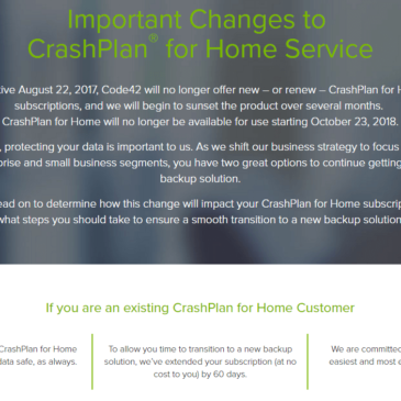 CrashPlan Discontinuing Home Backup