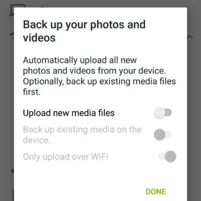 Android App Backup Settings