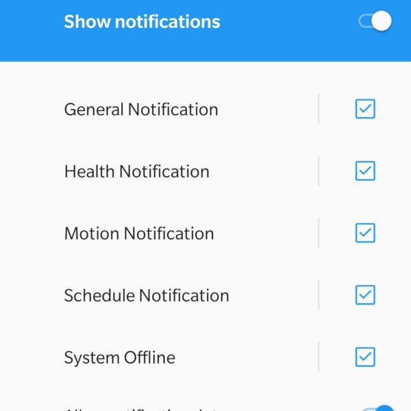Camera notification settings.
